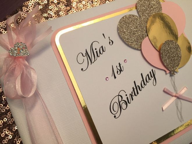 1st Birthday Guest Book Pink & Gold